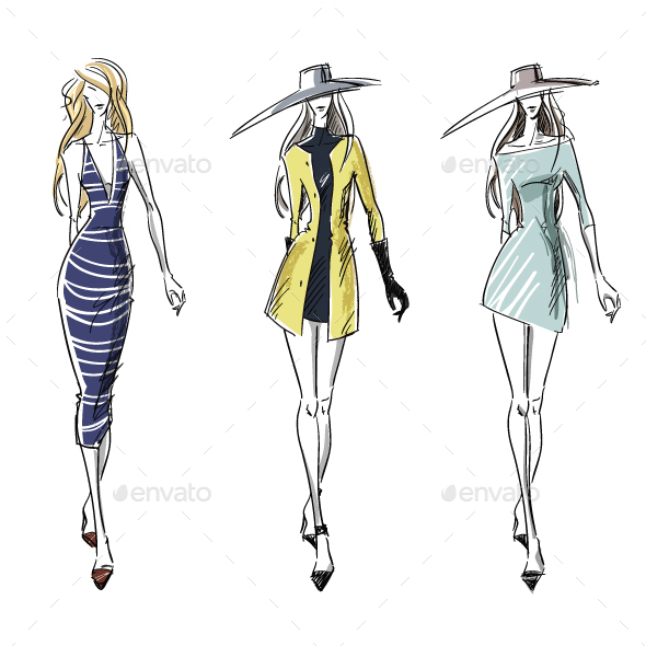 Summer and Autumn Look Fashion Illustration - People Characters