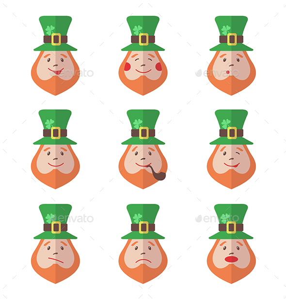 Set of Leprechaun Avatars with Emotions - Miscellaneous Characters