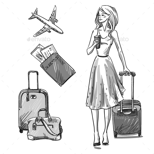 Travel Luggage Girl Walking with a Luggage Bag - Travel Conceptual