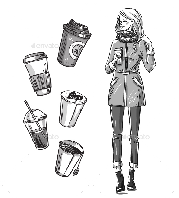 Girl Having a Snack Take Away Coffee - People Characters
