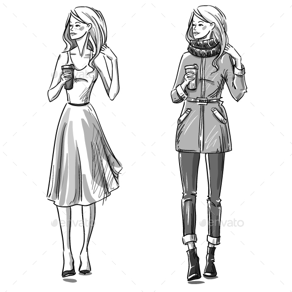 Fashion Illustration Winter and Summer Look - People Characters