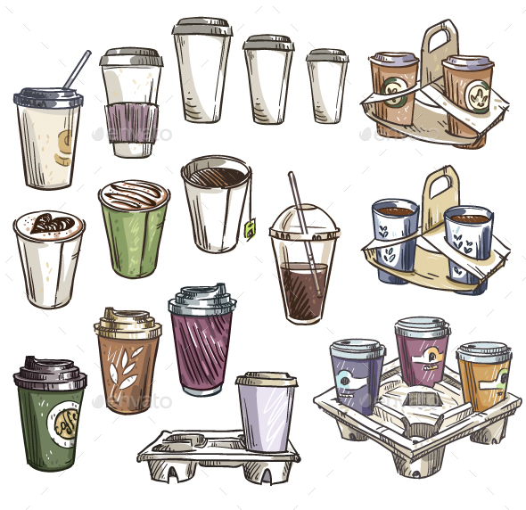 Selection of Coffee Takeaway Cups and Carrier Trays.  - Food Objects
