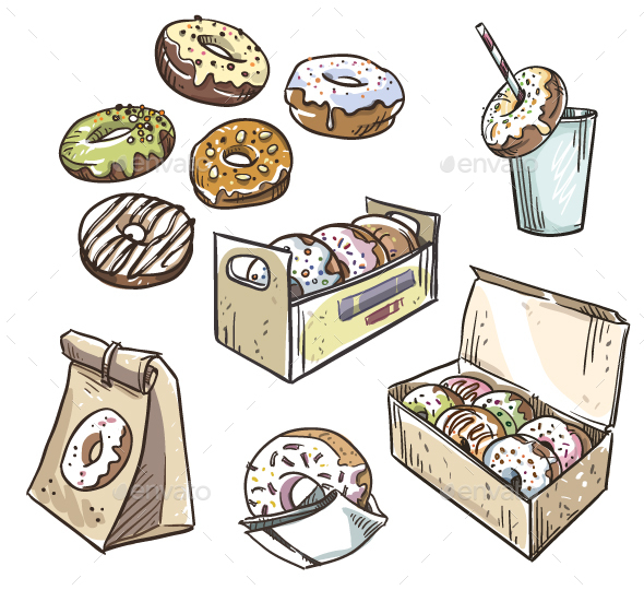 Selection of Donuts Takeaway Packaging - Food Objects