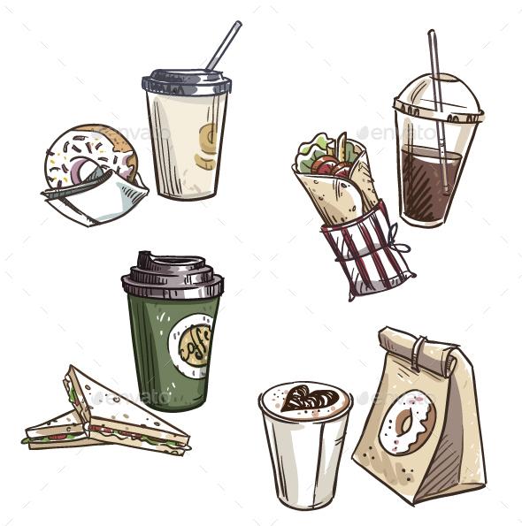 Selection of Takeaway Snacks - Food Objects