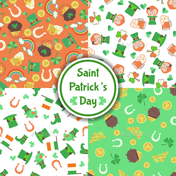 Set of four Saint Patrick's Day Seamless Patterns  - Patterns Decorative