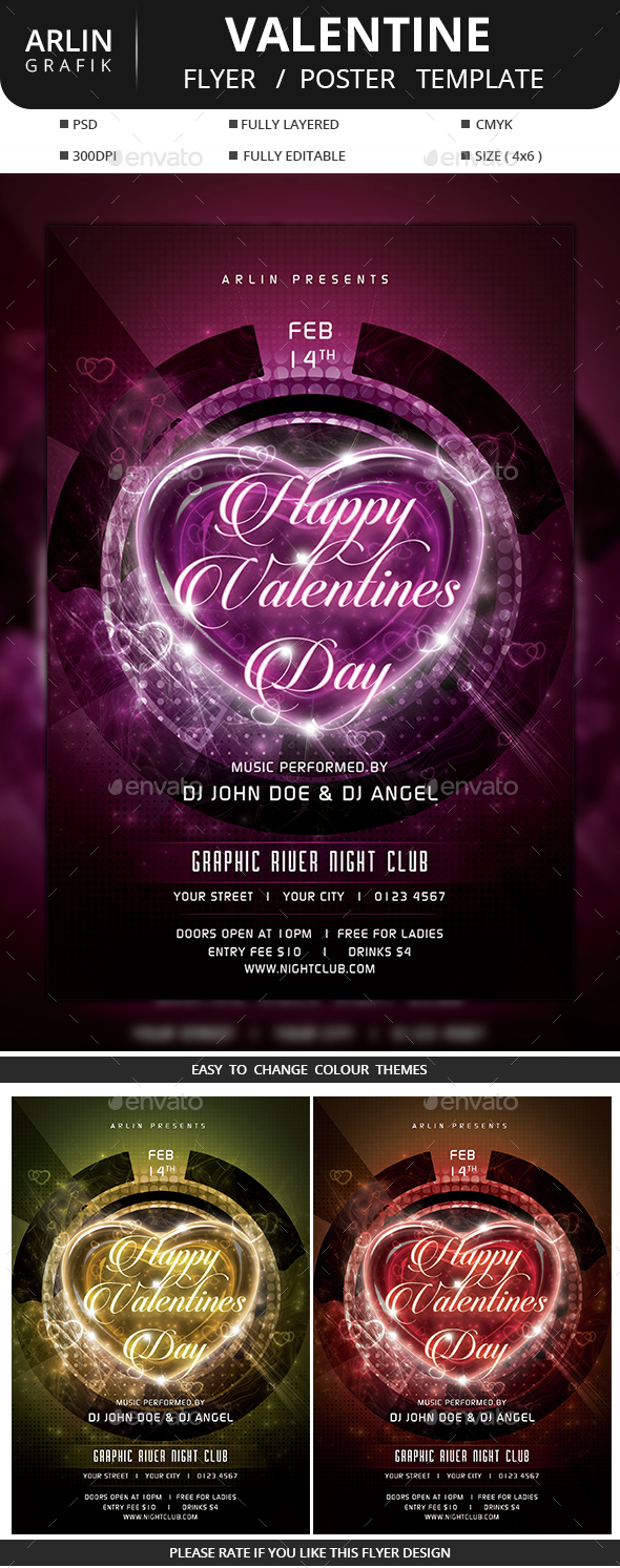 Valentine Flyer / Poster - Clubs & Parties Events