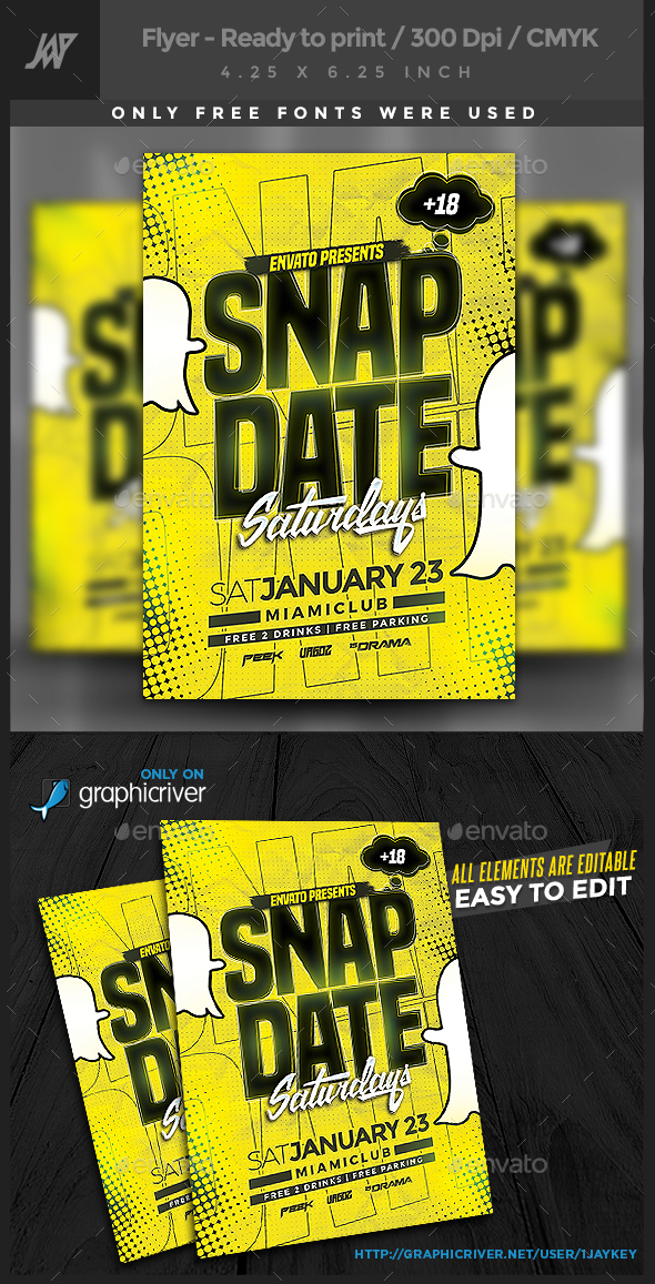 Snapdate Saturdays Party Flyer - Clubs & Parties Events