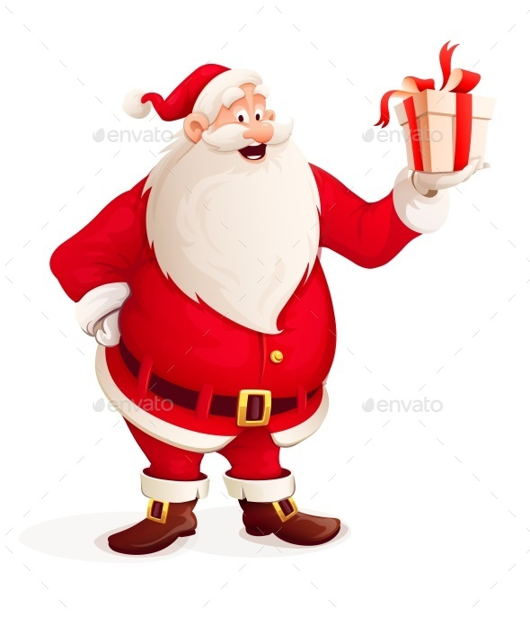Merry Santa Claus with Christmas Gift in Hand - Miscellaneous Characters