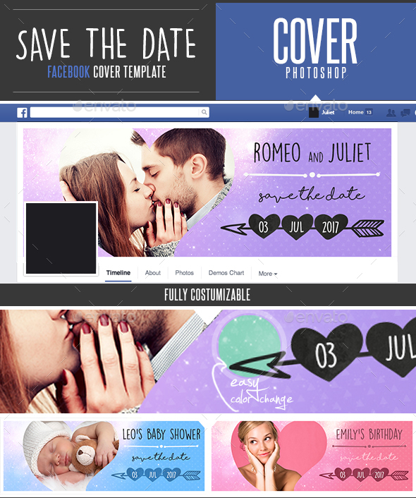 Save The Date Facebook Timeline Cover Template  - Facebook Timeline Covers Social Media