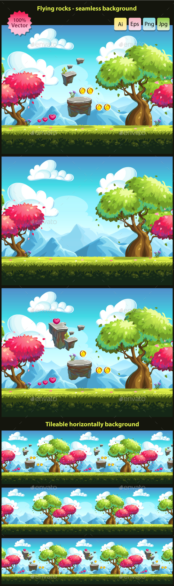 Flying rocks - seamless background  - Backgrounds Game Assets