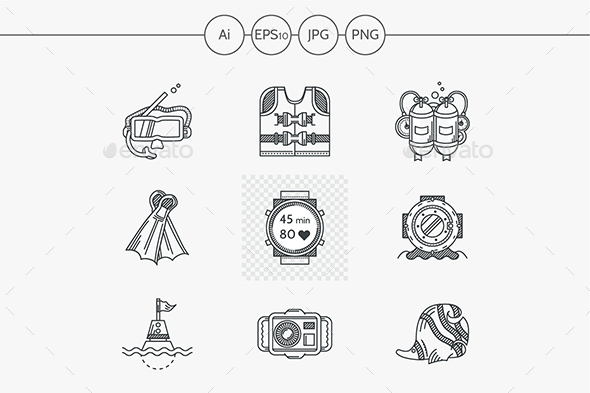 Diving flat line vector icons set - Objects Icons