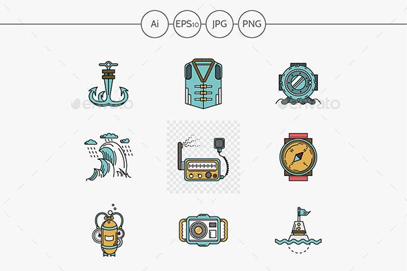 Flat line style nautical vector icons. - Seasonal Icons