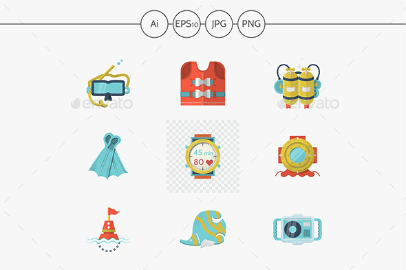 Colored flat vector icons for diving - Objects Icons