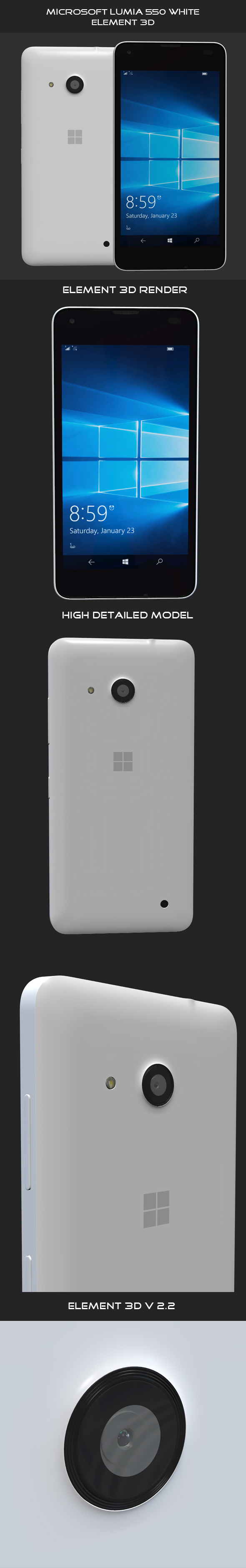Microsoft Lumia 550 White - 3DOcean Item for Sale