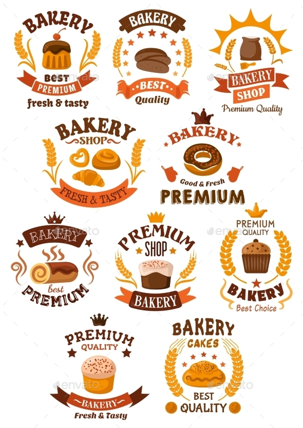 Bakery and Pastry Badges or Emblems - Food Objects