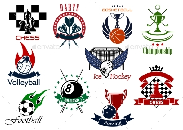 Set of Sporting Emblems and Icons - Sports/Activity Conceptual
