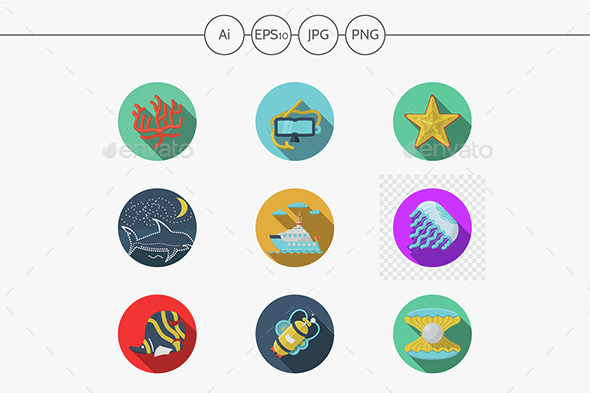 Sea flat color vector icons - Miscellaneous Icons