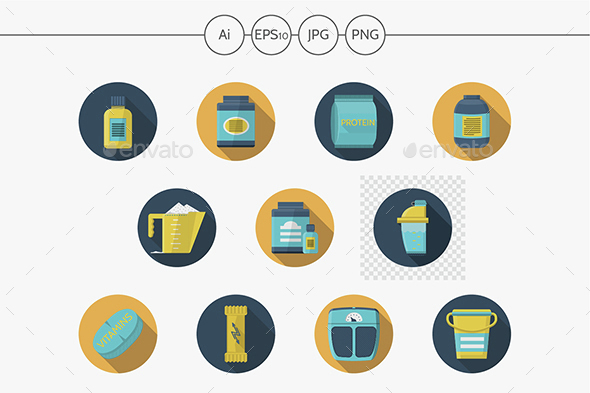 Sport  nutrition flat color vector icons - Food Objects