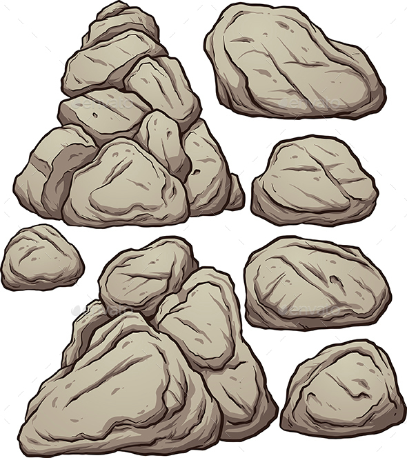 Cartoon Rocks - Organic Objects Objects