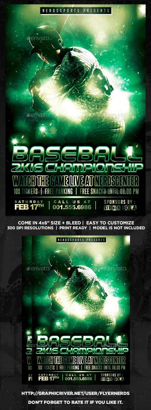 Baseball 2K16 Championships Sports Flyer - Sports Events
