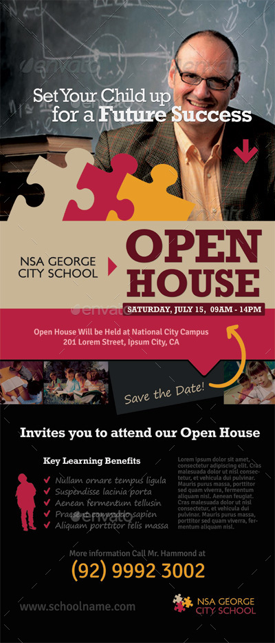 School Open House Rollup Banner Templates by kinzi21 GraphicRiver