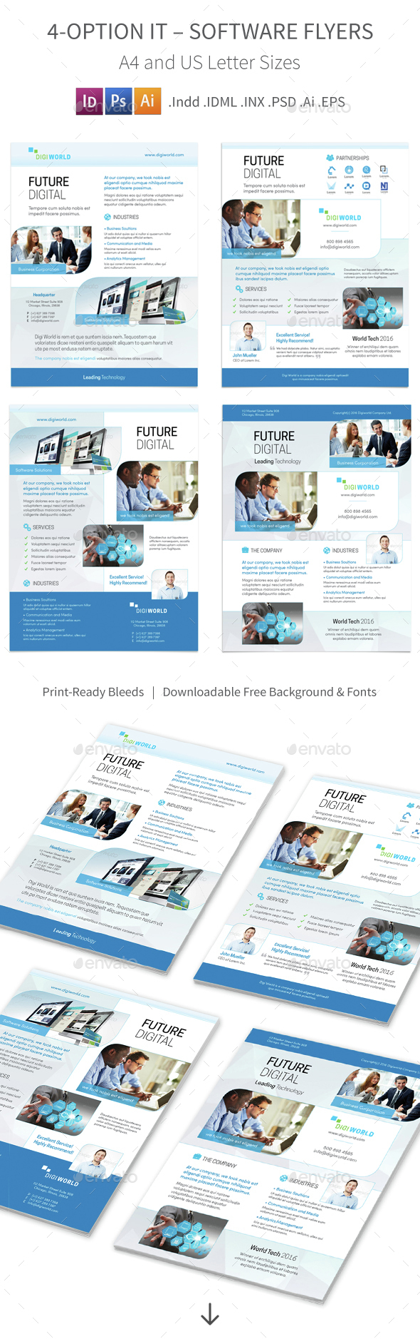 IT – Software Flyers  4 – 4 Options - Corporate Flyers