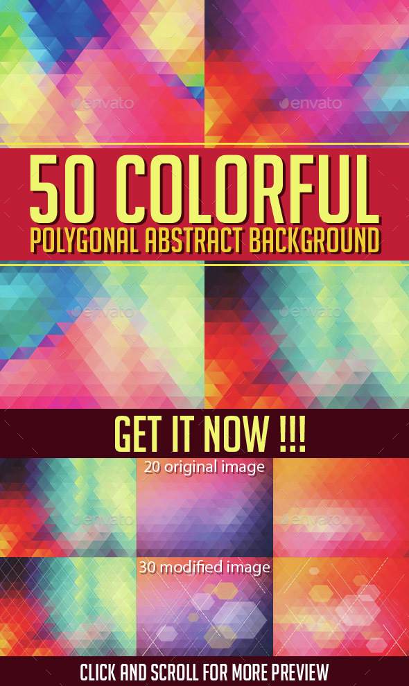 50 Colorful Polygonal Abstract Background - Backgrounds Decorative