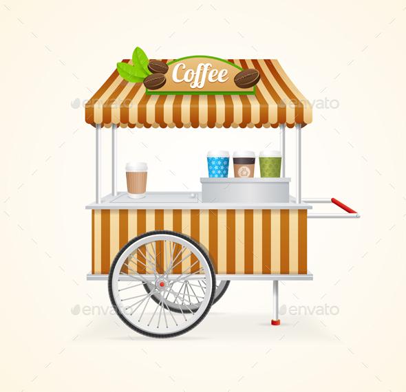 Coffee Market Cart. Vector - Conceptual Vectors
