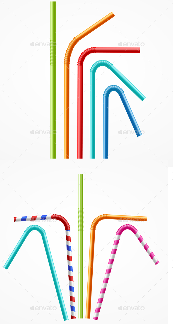 Colorful Drinking Straws Set. Vector - Objects Vectors