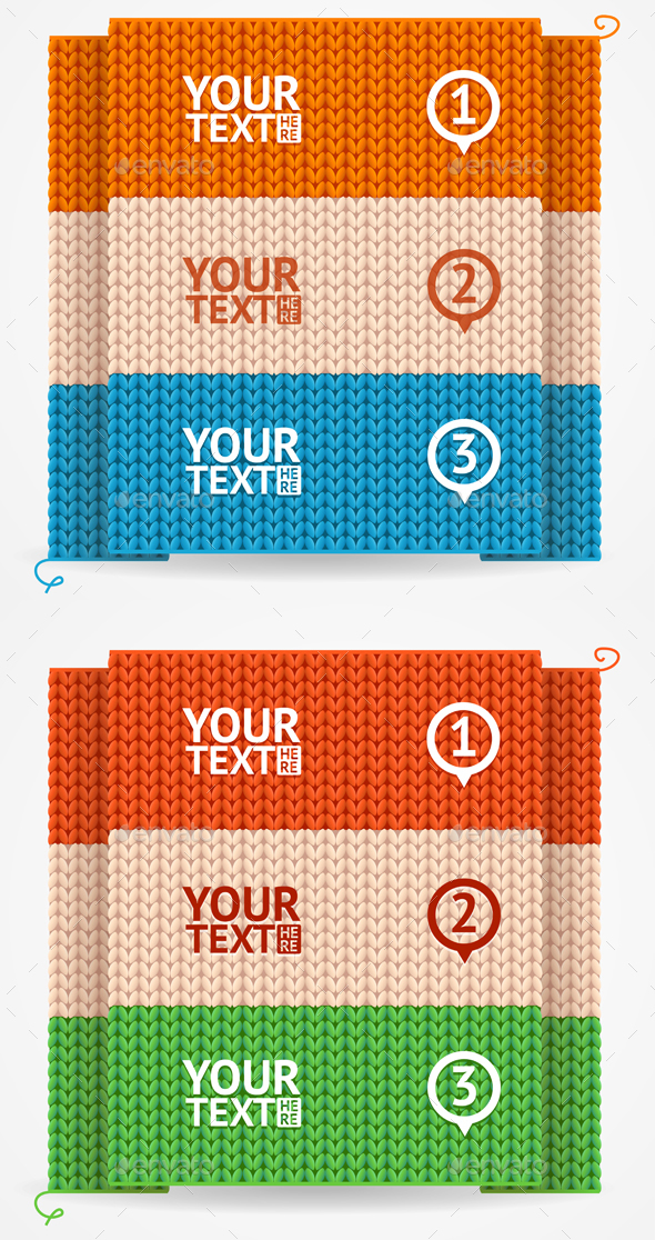 Menu or Headers Knitted Style. Vector - Business Conceptual