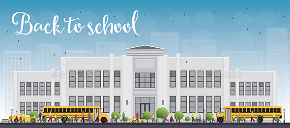 Landscape with School Bus, School Building and People. - Buildings Objects