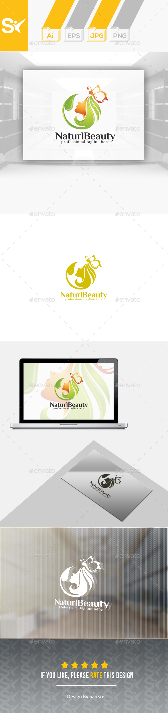 natural beauty logo by creativeocean graphicriver