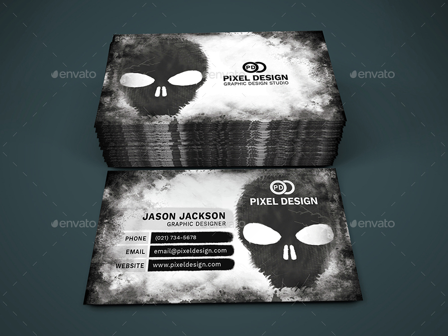 Skull graphic designer business card by creativemoon graphicriver skull graphic designer business card grunge business cards 01previewg colourmoves