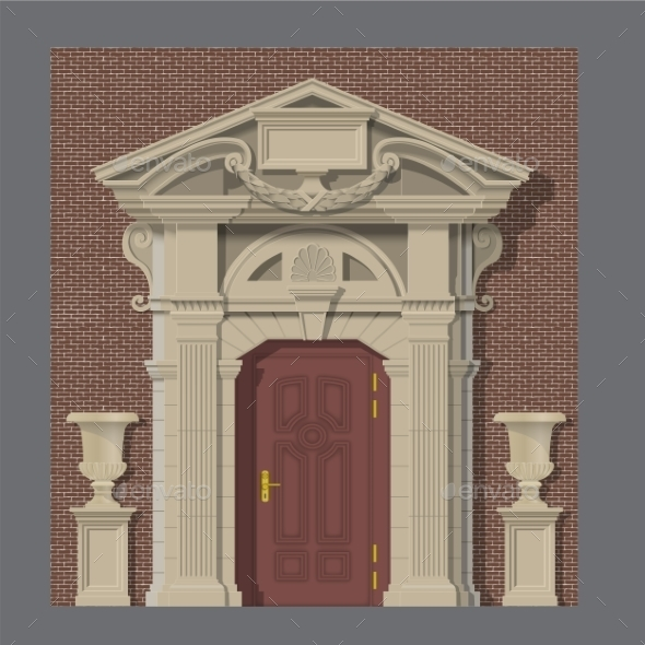 Vector Image, Stone Entrance Of House - Buildings Objects