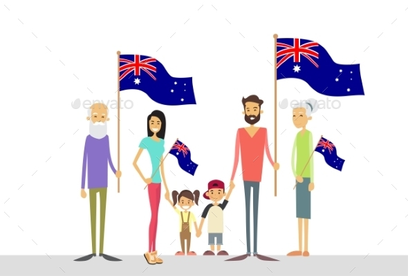 Australia Day National Flag Big Family Kids - Characters Vectors