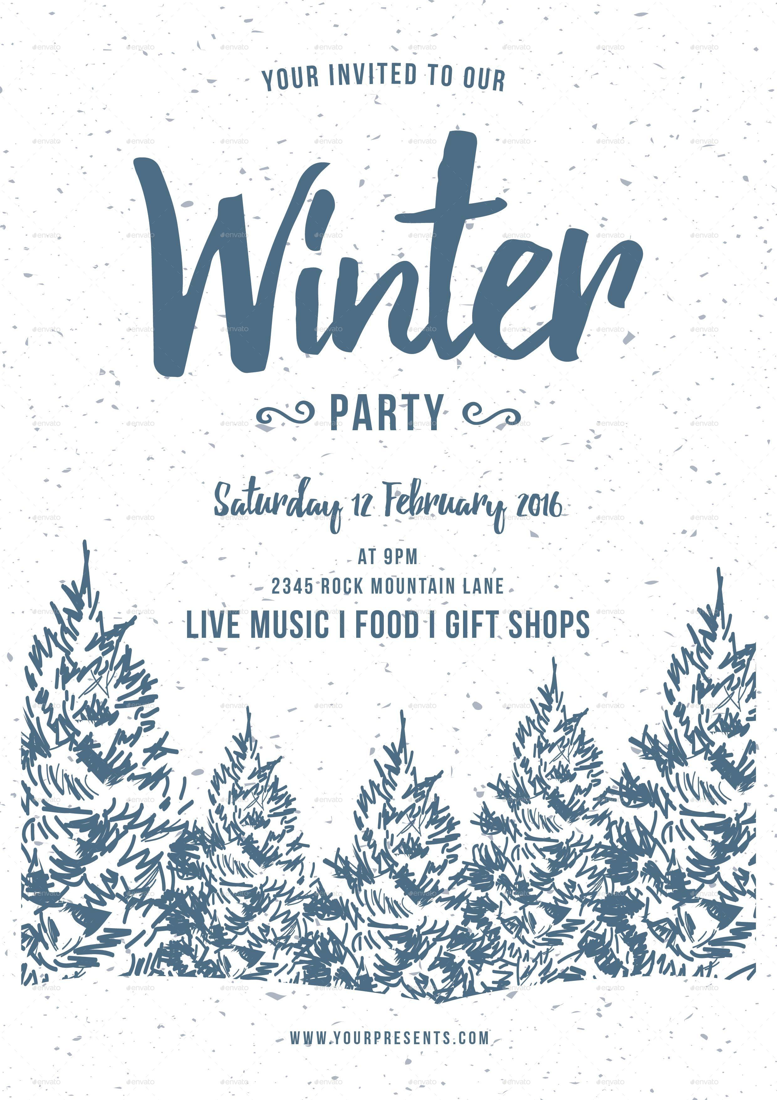 winter party flyer by lilynthesweetpea graphicriver. Black Bedroom Furniture Sets. Home Design Ideas