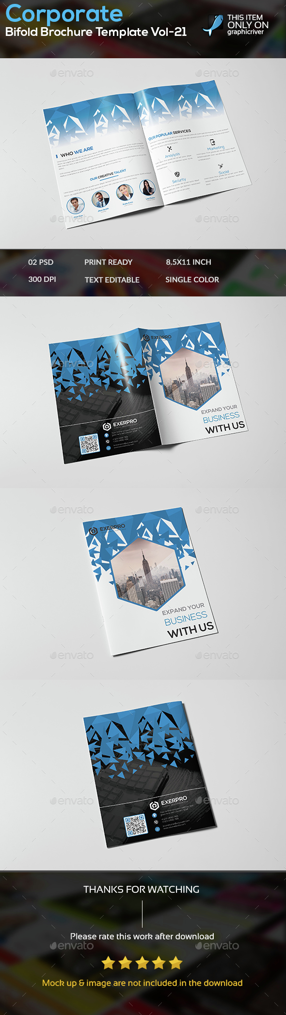 Corporate Bifold Brochure Template vol-21 - Brochures Print Templates