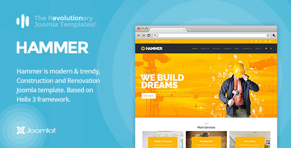 Hammer – Construction, Building Business, Renovation, Industry Joomla Template
