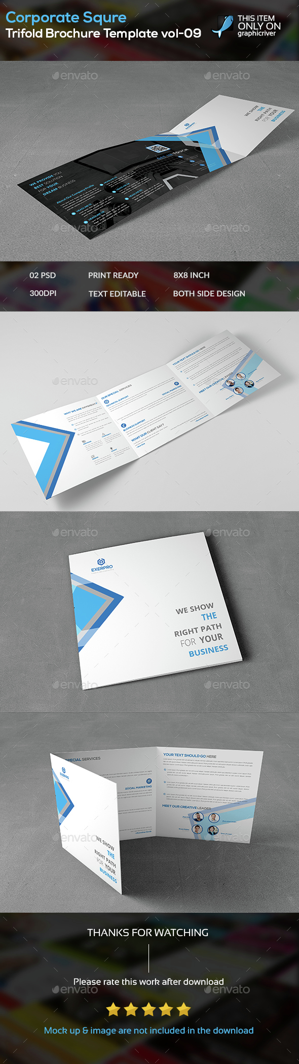 Corporate Squre Trifold Brochure Template -09 - Brochures Print Templates