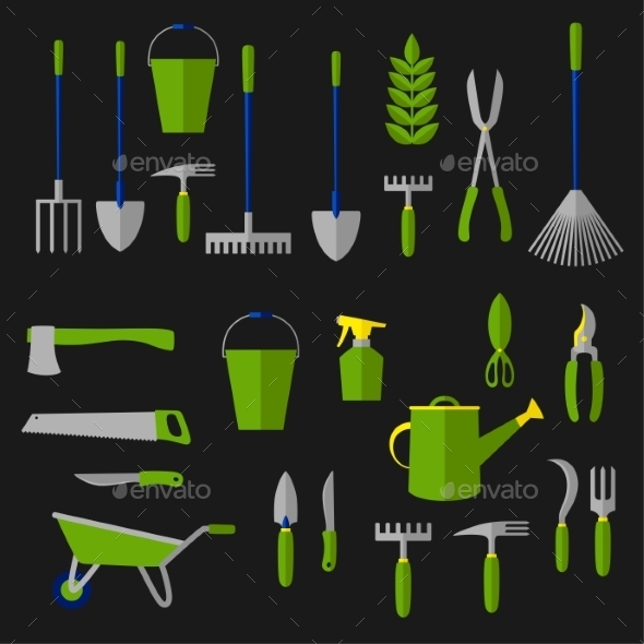 Agriculture And Gardening Tools Flat Icons - Objects Vectors