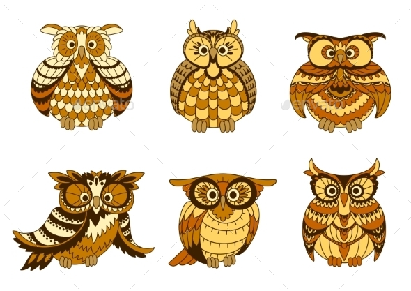 Cartoon Owls With Brown And Orange Plumage - Animals Characters