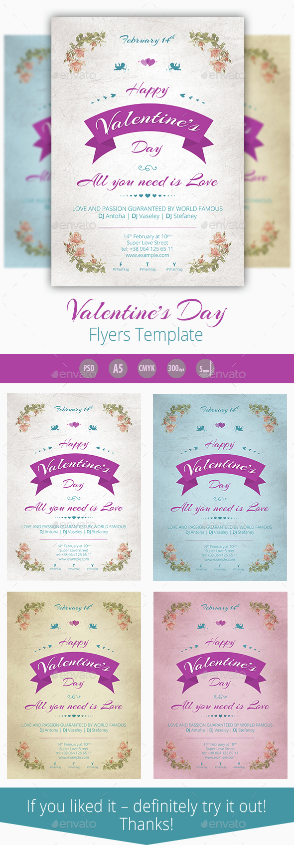 Valentines Day. FlyersTemplate - Events Flyers