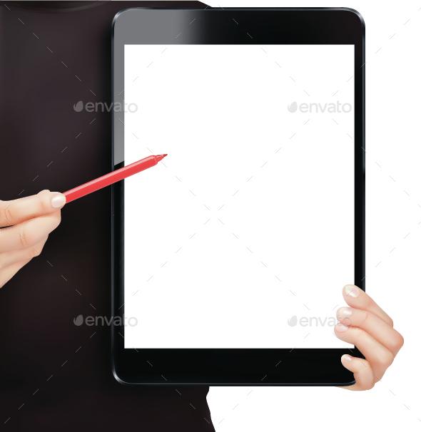 Hands Holding Digital Tablet - Concepts Business