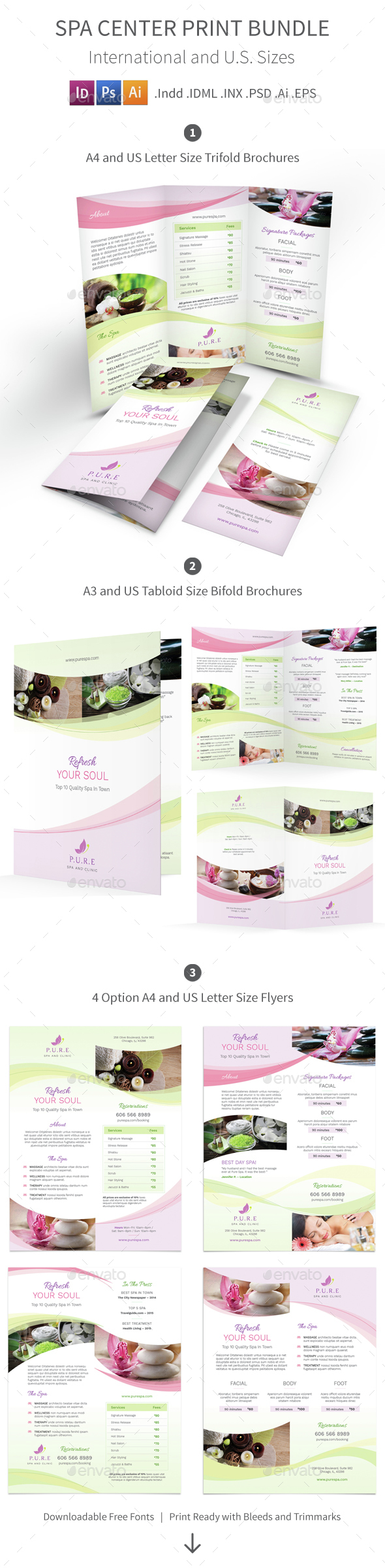 Spa Center Print Bundle - Informational Brochures