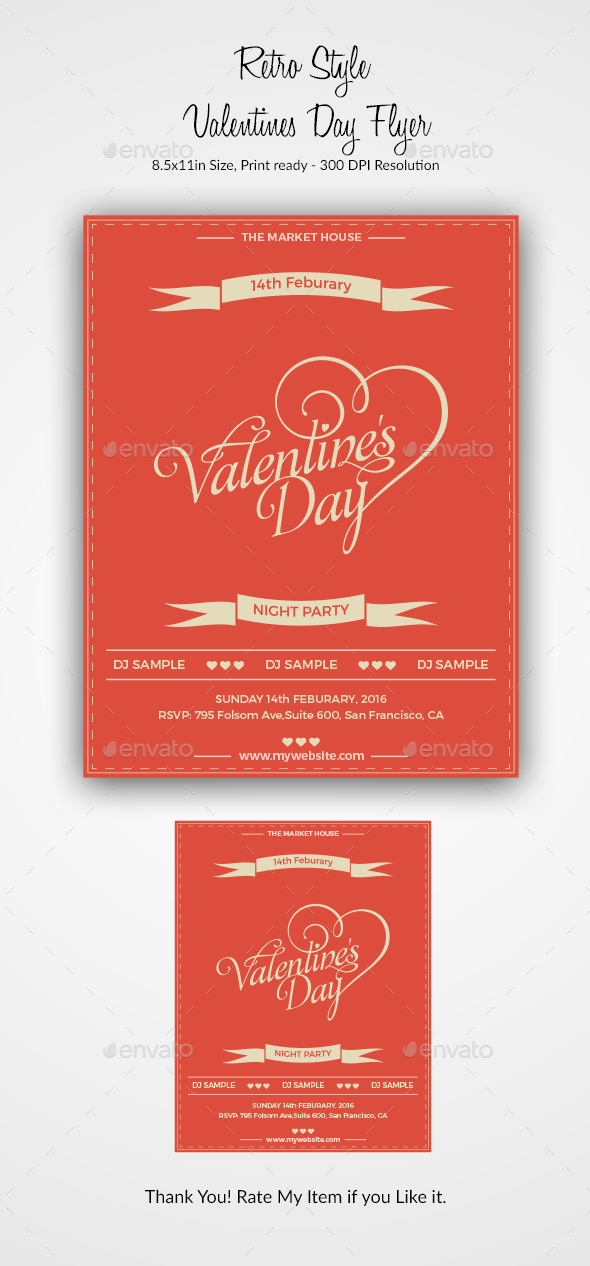 Retro Style Valentines Day Flyer - Events Flyers