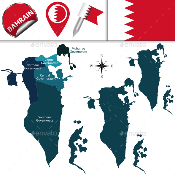 Map of Bahrain - Travel Conceptual