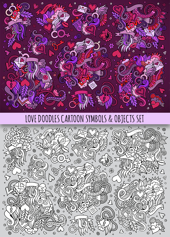 Love Doodles Symbols Set - Valentines Seasons/Holidays