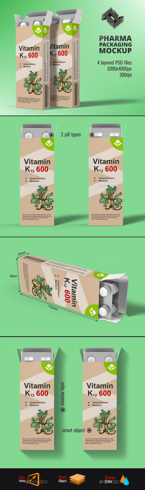 Pills Blister Pack Box Mockup - Packaging Product Mock-Ups