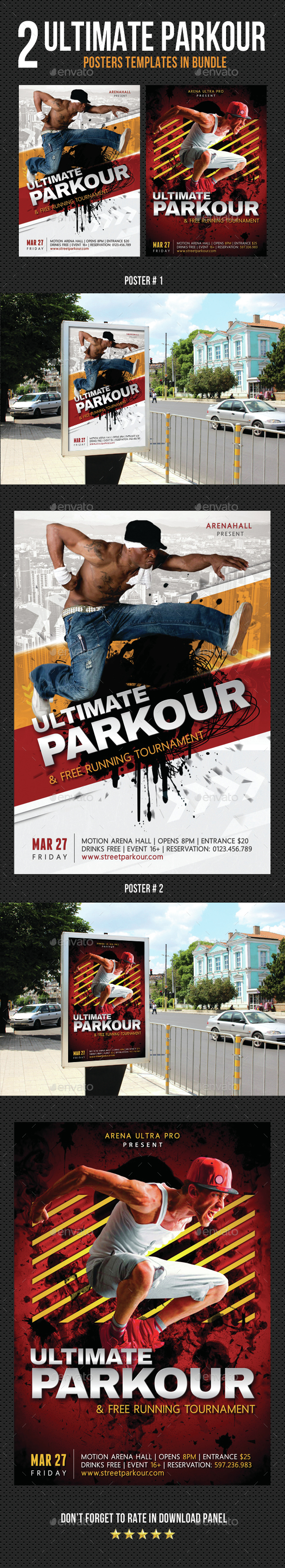 2 Ultimate Parkour Free Running Poster Bundle - Signage Print Templates