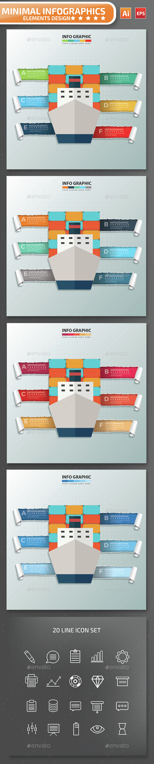 Minimal Container Ship Infographics Design - Infographics
